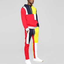 Drawstring Color Block Front Kangaroo Pockets Dri Fit Mens Tracksuit